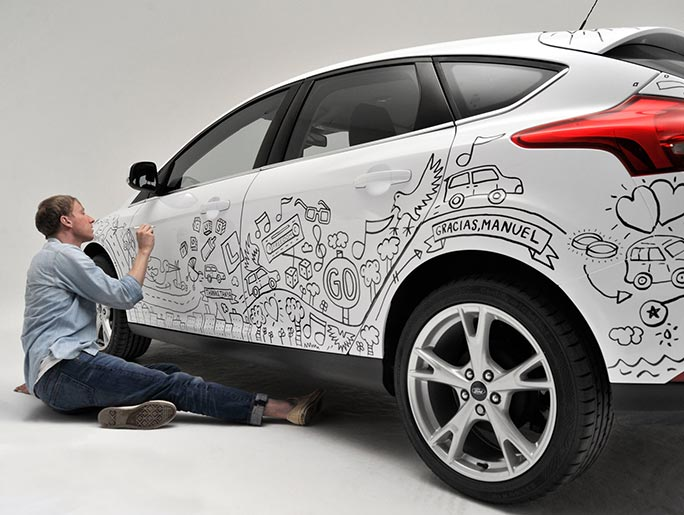 Timothy illustrating on a Ford Focus