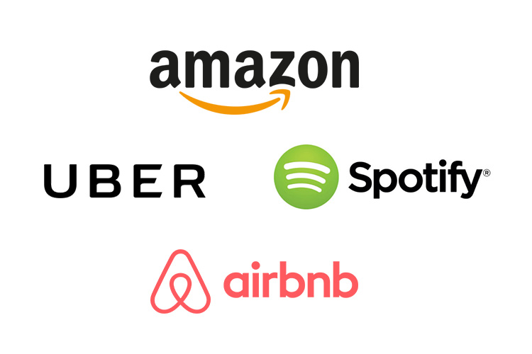corporate logos of Amazon, Uber, Spotify, airbnb